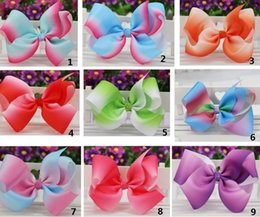 Wholesale Christmas Gift Bows Wholesale - 6inch big Grosgrain Ribbon Hair Bows WITH Alligator Clip Rainbow Bow Clips For Girls Kids Hair Gift Cute Christmas Bows