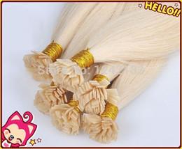 Wholesale Human Hair Flat Tip - #60 Platinum Blonde Keratin Fusion Flat Tip Hair Extensions Human 100S 100g Grade 6a Unprocessed Brazilian Straight human Hair
