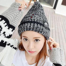 Wholesale Korean Beanie Men - Korean Style Acrylic Pointy Beanie Hat Warm Winter Hats For Women and Men Multi color Beanie Skull Caps Pointy Knitting Hat LA341