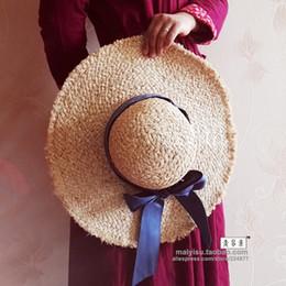 Wholesale Small Brim Hats Men - Wholesale- Bandeaus small bow dome large brim strawhat moben sun-shading hat women's beach cap