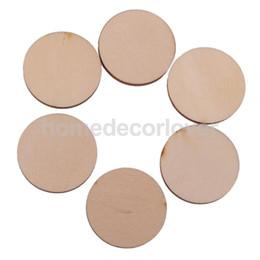 Wholesale Wooden Embellishments - Wholesale-30x Unfinished Round Circle Wooden Embellishments for Cardmaking DIY 40x3mm