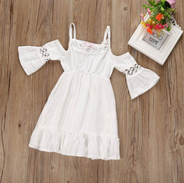 Wholesale White Linen Maxi Dress - Retail Summer New Girl Maxi Dress White Lace Off The Shoulder Cotton Linen Beach Dress Children Clothing 1-5T 17127