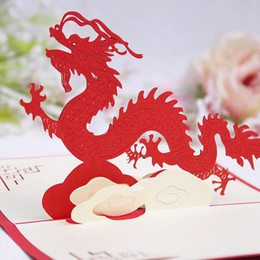 Wholesale Diy Greeting Cards - 100mm*150mm 3D Chinese Dragon Best Wishes Happy Greeting Cards Christmas Card New Year Greeting Card DIY Gift ZA4986