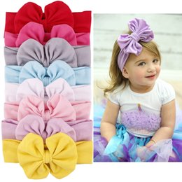 Wholesale Baby Head Belt - Bow: 12 * 11cm, Belt 18X5.5cm Charming Baby Hair Accessories Children Cotton Bow Hair Band Sweet Head Band 9 Colors Headbands