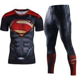 Wholesale Batman Superman Shirts - Men's Compression Sets Workout Base Layers Shirts 3D Superheros Joggers Fitness Jersey Suits Running Sets Superman Batman Spiderman Captain