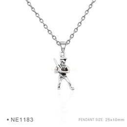 Wholesale Necklace Player - Antique Silver Plated Baseball Bat Player Mitt Charm pendants Chain Necklaces Birthday Necklaces For Women Men Platinum Metal Necklaces
