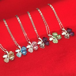 Wholesale Cheap Sterling Silver Pendants - 925 sterling Necklaces Four Leaf Clover Pendant Necklace Lovers Gift cheap price 2015 hot sale beauty necklace statement newest 160212