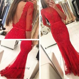 Canada 2017 New Open Back Mermaid Prom Dress Superbe Rouge à manches longues en dentelle Applique Sweep Train Evening Party Gown Custom Made Plus Size cheap prom dresses gorgeous back Offre