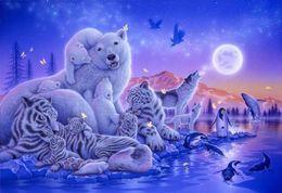 Wholesale One Polar - New needlework diy diamond painting cross stitch kits full resin round diamond embroidery Mosaic Home Decor animal tiger Polar bear yx0326