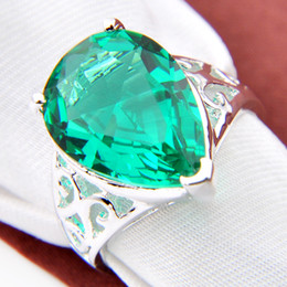 Wholesale Topaz Silver Rings Wholesale - 2pcs lot Wholesale Holiday Jewelry Gift FREE SHIPPING 925 Sterling Silver drop green topaz Gems Ring