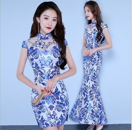 Wholesale Silk Long Cheongsam - Retro blue and white porcelain cheongsam fashion Slim long section of the elegant evening dress cheongsam