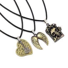 Wholesale Leather Straps For Necklaces - Retro leather strap short necklaces Heart-shaped Angel Wings Skeleton Rose pendant Necklaces for lover Multi-style mixed batch