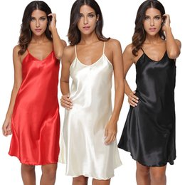 Wholesale Brown Satin Lingerie - Wholesale- Sexy Lingerie Women's Sleepwear Mini Dress Fashion Satin Solid Chemise Nightgown Dress Woman Deep V Neck Loungewear Pyjamas
