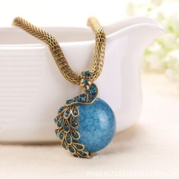 Wholesale Peacocks Sale - 2017 Collares Collier Handmade Retro Necklace with Opal And Peacock Pendant Bohemian Style Phoenix Peacocks Necklaces Hot Sale