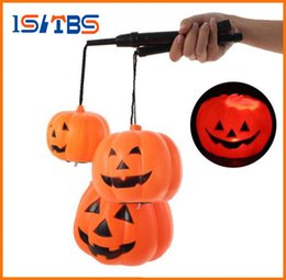 Wholesale Led Light Tree Toy - 2017 Hot Sale Halloween Decoration Pumpkin Light Jack O Hanging Lantern Home Party Toy Props Pumpkin Lantern