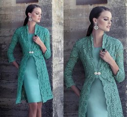 Wholesale Turquoise Green Satin Dress - Lace Short Mother Of The Bride Dresses Long Sleeves Satin Sheath Turquoise Green Elegant Mother Of The Groom Dresses Women Formal Dresses