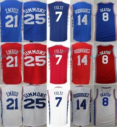 Wholesale Quick Selling - Hot Sell 7 Markelle Fultz Jersey 21 Joel Embiid 25 Ben Simmons Basketball Jersey 8 Jahlil Okafor 14 Sergio Rodriguez Blue White Red Stitched