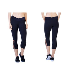 Wholesale Cut Out Women Leggings - Brand New B&S YOGA Mid Rise Capri Black Women's Leggings Sports & Fitness Fashion Cut-out Pants