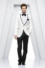 Wholesale Men Ivory Dress Pants - Wholesale- Custom Made Shawl Collar White Men Suits Best Men Wedding Suits Groom Tuxedos Casual Dinner Prom Dress (Jacket+Pants+Ti