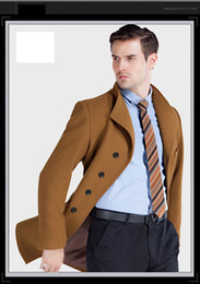 Wholesale Best Overcoats Men - Fall-Autumn And Winter best quanlity Men Woolen Coats Middle Long Jackets And Coats Mens Fashion Warm Wool Overcoat 3xl Stand collar