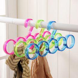Wholesale Hole Hangers - 5-Hole Ring Rope Slots Holder Hook Scarf Wraps Shawl Storage Hanger Ties Hanger bBelt Rack Scarves Organizer Practical Tools