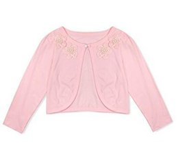Wholesale Girls White Bolero - Pink White Xiangyihui Long Sleeve Girls Jacket With Beaded Flower Competitive Price Children Bolero 2017 Hot Selling
