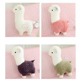 Wholesale Cotton Soft Toys - Wholesale- 26cm PP Cotton 4 Types Japanese Alpacasso Soft Toys Doll Stuffed Animals Lama Toy Kawaii Alpaca Plush Kids Gift