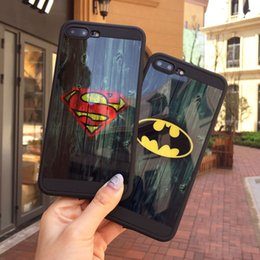 Wholesale Apple Batman - Fashion Brand Mirror Skin Superman Batman Captain America Soft TPU Phone Cover Case for iPhone 6 6S Plus 7 Plus Capa Coque Funda