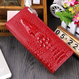 Wholesale Credit Card Embossing - Women Cowhide Wallet Magnet Hasp Coin Purses Holders Brand Genuine Leather 3D Embossing Alligator Long Clutch Wallets