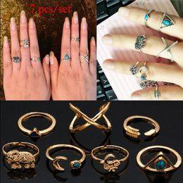 Wholesale Vintage Arrows - Wholesale- 7Pcs Set Fashion Vintage Bohemian Turkish Moon Arrow Midi Ring Set Steampunk Elephant Ring Knuckle Rings Charm Women Anel