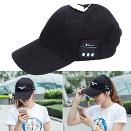 Wholesale Usb Baseball - Wireless Bluetooth Headphone Sports Baseball Cap Canvas Sun Hat Music Handsfree Headset with Mic Speaker for Smart Phone dhl free EAR232