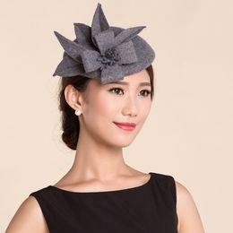 Wholesale Wool Felt Fascinator - Wholesale-Vintage Lady Women black Wool Felt Pillbox Fascinator Party Wedding Hat with Bow gray