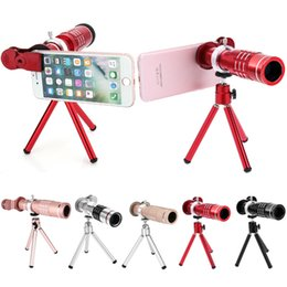 Wholesale Camera Lens For Android - 18X Zoom Phone Telescope Telephoto Camera Lens + Tripod + Aluminum Protective Shell Universal For iPhone Android Mobile Phones