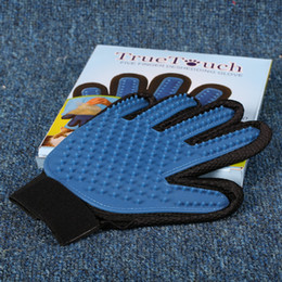 Wholesale Silicone Products Wholesaler - New Product Silicone True Touch Glove Deshedding Gentle Efficient Pet Grooming Dogs Bath Pet Supplies Blue b631