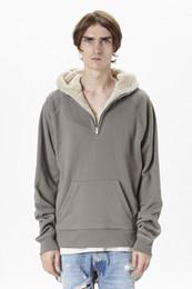 Wholesale Clothing Dropshipping - FOG dropshipping streetwear hip hop half zip split up sherpa hoodie fleece jacket latex fur coats designer mens brand clothing