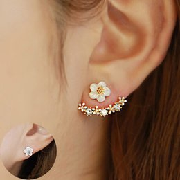 Wholesale Ear Animals - Flower Crystals Stud Earring for Women Rose gold color Double Sided Fashion Jewelry Earrings female Ear brincos Pending