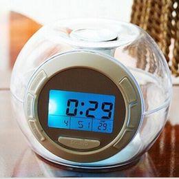 Wholesale Digital Transparent Clock - Transparent color colorful cycle natural sound alarm clock,Snooze Function table clocks,Digital Circular Alarm Clocks.