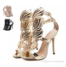 Wholesale Gold Leaf Shoes - Hot Flame metal leaf Wing High Heel Sandals Gold Nude Black Party Events Shoes Size 35 to 40