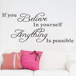 Wholesale Inspirational Quotes Wall Stickers - Inspirational Quotes Wall Stickers Art Decor for Girls Bedroom If You Believe In Yourself Anything Is Possible for Home Dorm Mural