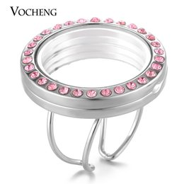 Wholesale Round Engagement Rings - VOCHENG 30mm Glass Globe Lockets Ring for Floating Charms Women Resizable with Rhinestone 3 Colors Round Openable VA-246