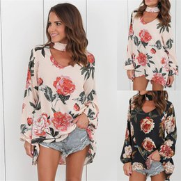 Wholesale Floral Pocket T Shirt - Long Sleeve Floral T Shirt Women 2017 Sexy V Neck Spring and Autumn Halter Loose Tops Tee Shirt Female Casual T-shirt DHL NX170909