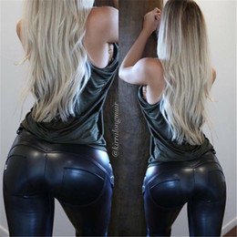 Wholesale Leggins Pants Leather - Faux Leather Thickening PU Elastic Shaping Hip Push Up Pants Black Sexy Leggings for Women Jegging Gothic Leggins Autumn Winter
