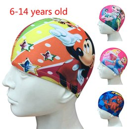 Wholesale Silicone Swim Caps Wholesale - NEW Cartoon swimming caps Stretch fabric spandex nylon cloth teenagers Swimming Cap for Kids Bathing Cap Free shipping JC129