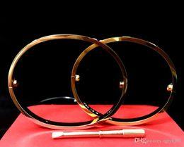 Wholesale H Screws - Titanium Stee Love Bracelet With Screwdriver Bracelet Femme For Women Men Wristband Rose Gold Bangle Screw h love Bracelet with original box
