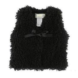 Chaleco de los niños Muchachas de las muchachas Arcos de lana engrosamiento Chaleco Otoño Invierno Niños de felpa con cuello en V chaleco de un solo pecho Niños Ropa desde fabricantes