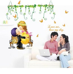 Wholesale Carton Wall Stickers - SK7001 Love Me Love My Dog Quote Wall Stickers Carton Couple Wall Sticker for Couple Room Butterfly Vine Wall Decals Free Shipping