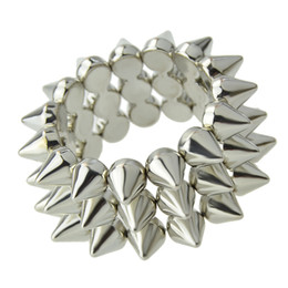 Wholesale Spikes Bracelet For Men - New Designer Exaggerated Spikes Punk Rock Bracelets And Bangles For Women Men Jewelry