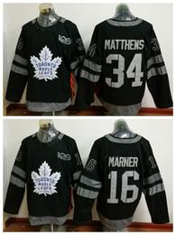 topo de bordo Desconto 100th Toronto Maple Leafs Jerseys 2017 Hóquei No Gelo 34 James Reimer 16 Mitch Marner Uniformes Negros Moda Tudo Costurado Top Quality À Venda