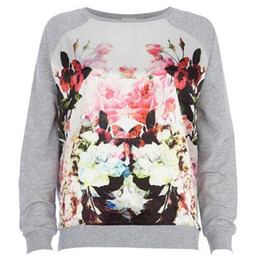 Wholesale Womens Clothing Plus Sizes - 2017 New Fashion Women Long Sleeve T Shirt Autumn O Neck Print Flower Plus Size Top Womens Sexy Casual Clothing