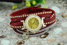 Wholesale Hand Drill Battery - Hand catenary watches Heart-shaped water drill pendant red strap of 2017 latest version of the summer women watch